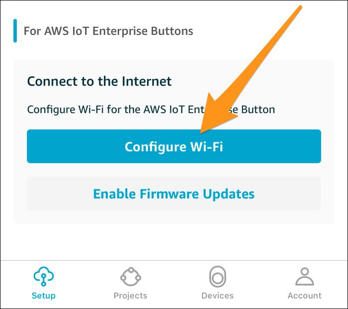 "Select ""Configure WiFi"" under the IoT Enterprise"