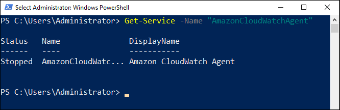 Confirm that the service has been installed and is not running by using the Get-Service cmdlet.