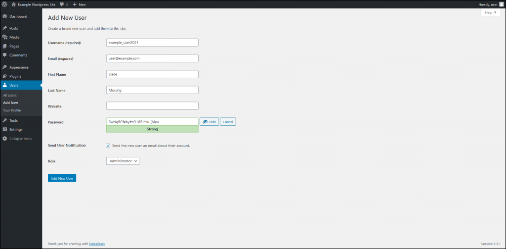 Select Add New to create a new user.