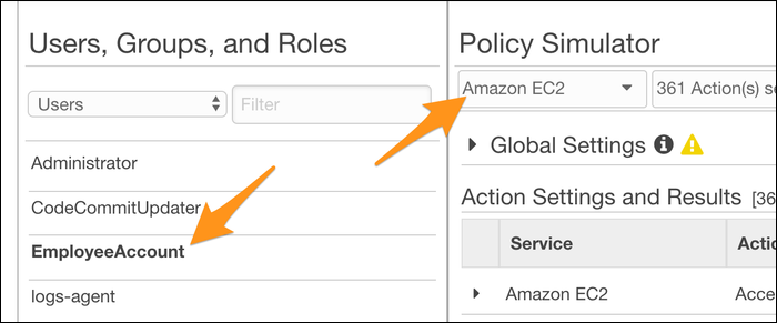 policy simulator choose role and service