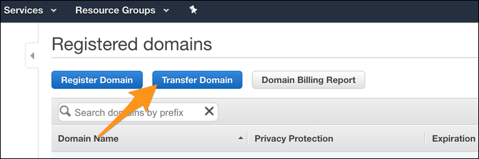 transfer domain button