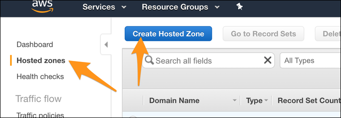 """Open a new tab and create a new zone from the """"Hosted Zones"""" tab of the console."""