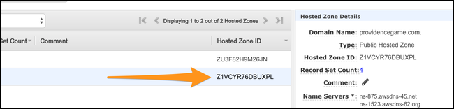 Note the hosted zone ID.