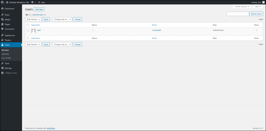 Open Dashboard and navigate to Users.