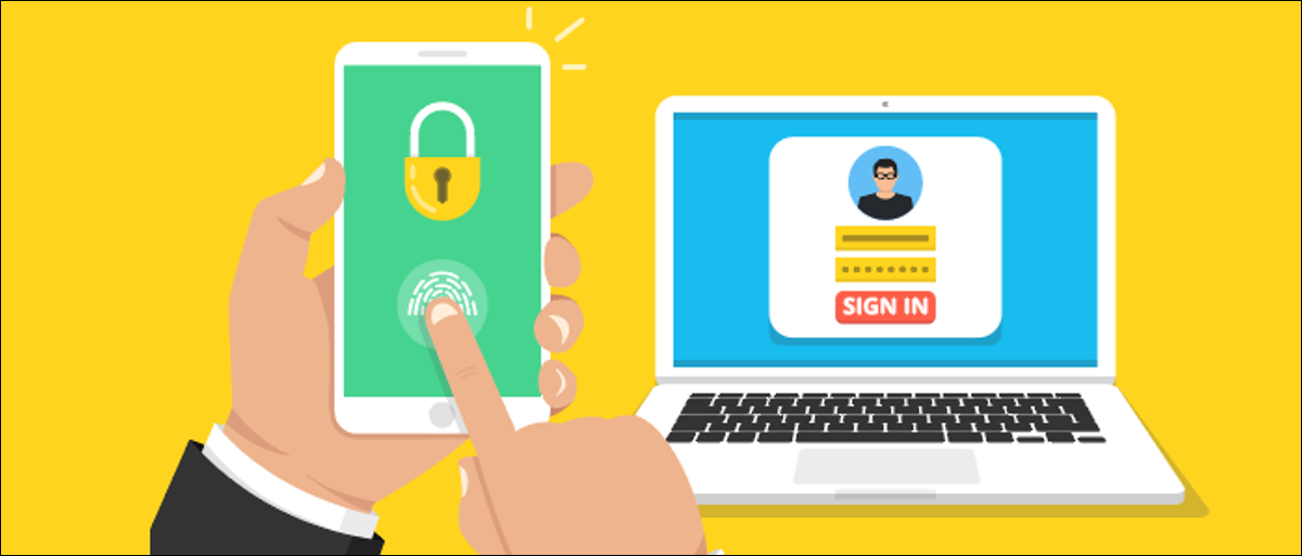 Two-factor authentication of logging in on a phone and computer