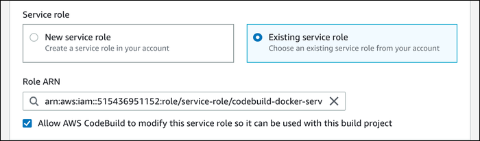 Select the service role you created earlier.