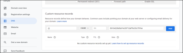 "link your domain with an IP address by going to ""DNS"" in the sidebar and scrolling down to the ""Custom Resource Records"" section."