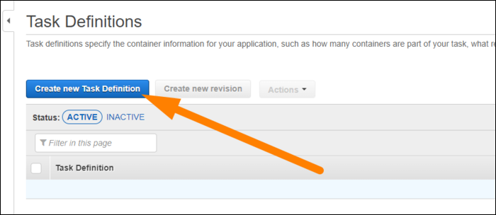 create new task definition