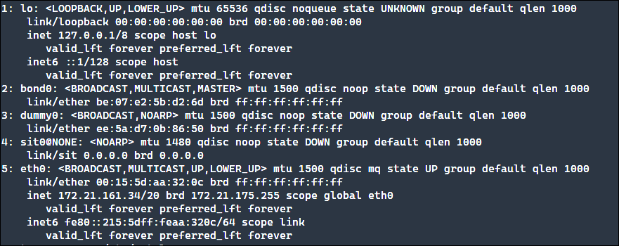 Output of the existing interface configuration.
