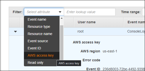 Filter by username, AWS access key, or another factor