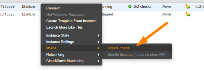Create images of running instances