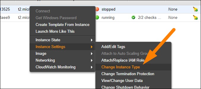 Select Instance Settings > Change Instance Type