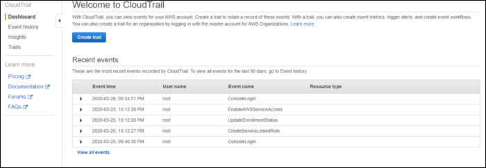 cloudtrail dashboard