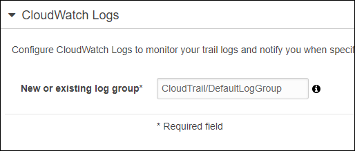 The log group name defaults to CloudTrail/DefaultLogGroup