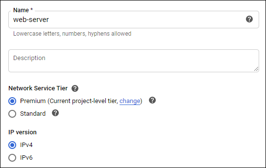 Name network configuration for this GCP project.