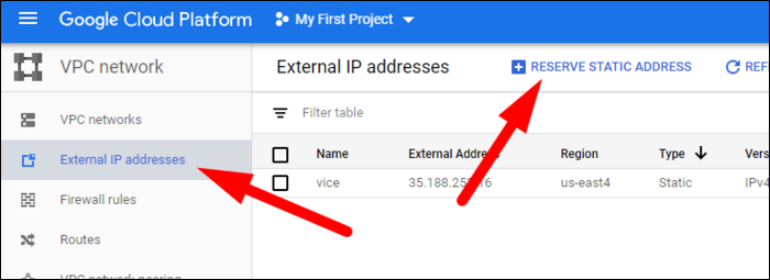 Network configuration for this GCP project.