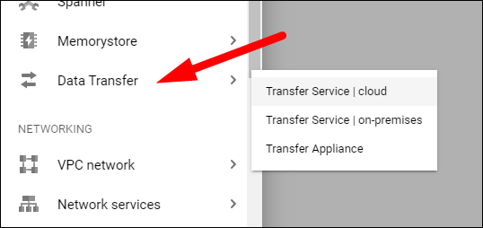 Select Data Transfer > Transfer Service from the sidebar.
