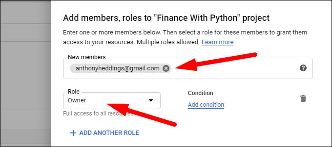 Adding members and roles to a project.