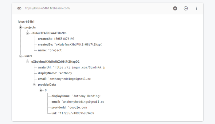 Firebase is a document-store database where data is stored in one big JSON tree