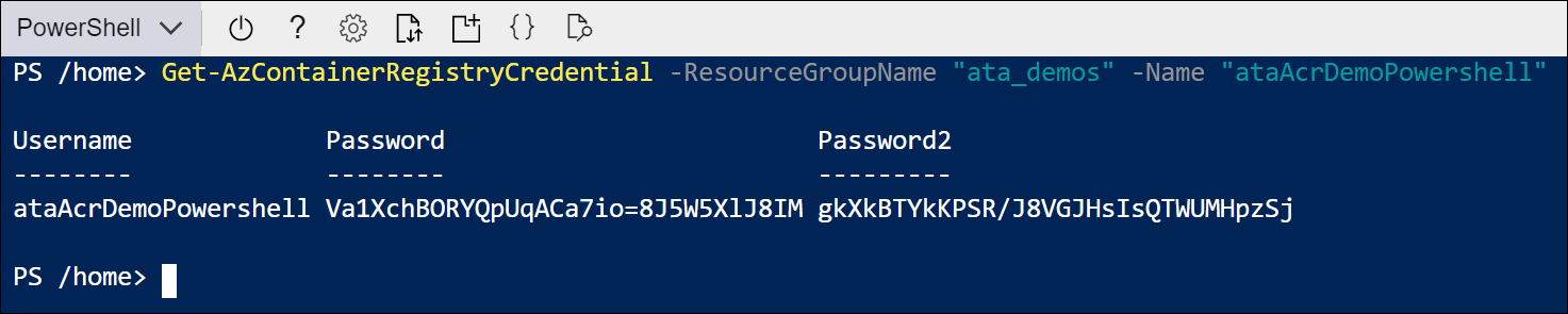 Use the Get-AzContainerRegistryCredential cmdlet to get the login credentials.