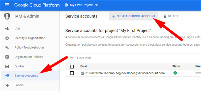 create new service account