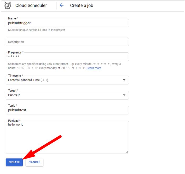 fill out job settings