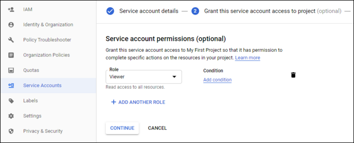 add roles for service account