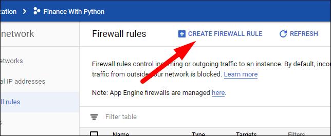 create new firewall rule