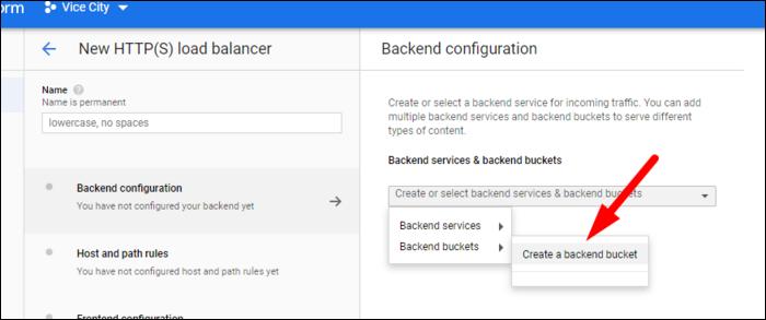 create new backend bucket