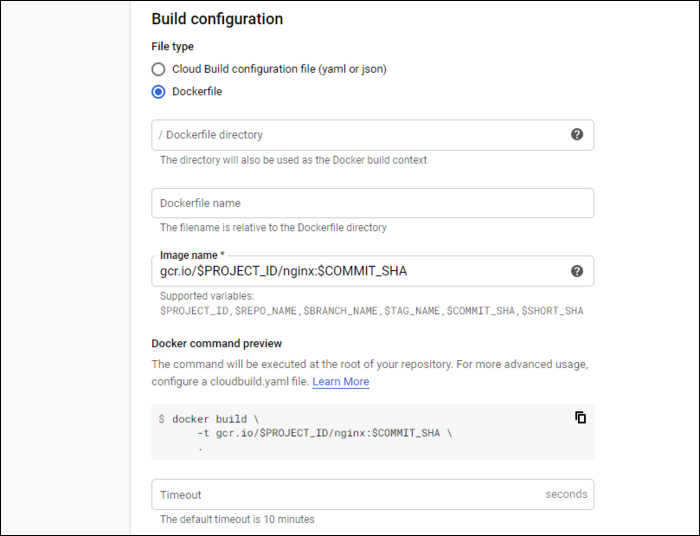 """Select """"Dockerfile"""" as the build configuration"""