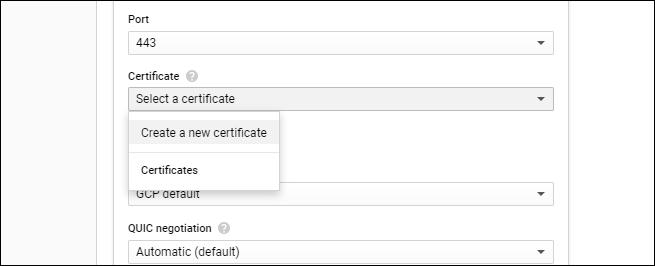 create new certificate