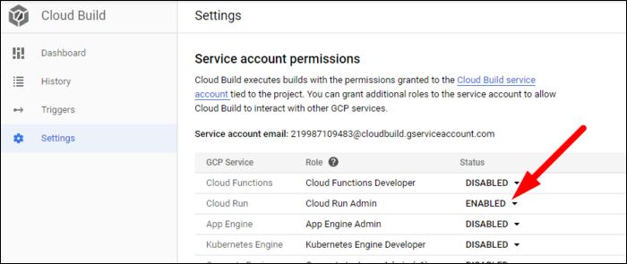 service account settings