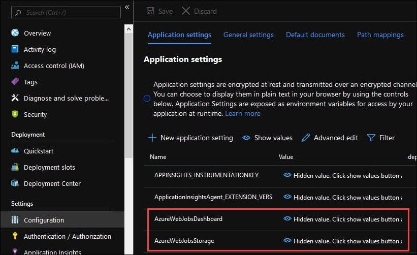 Two separate settings, AzureWebJobsDashboard and AzureWebJobsStorage, are connected next.
