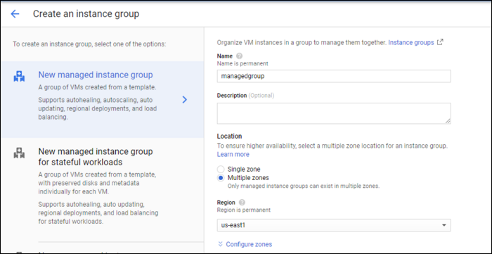 create managed instance group