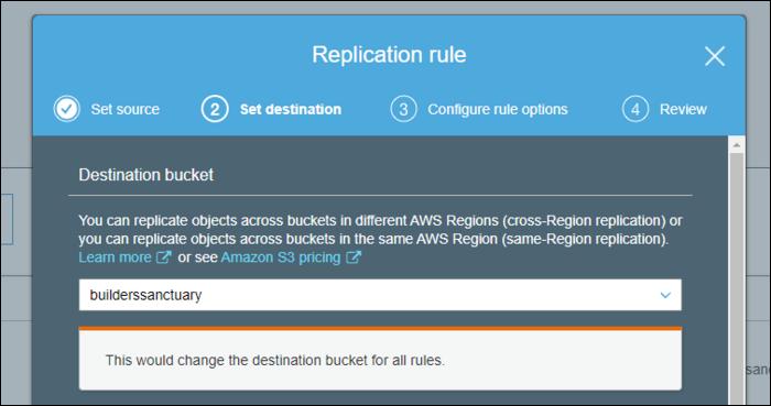 Select the destination bucket