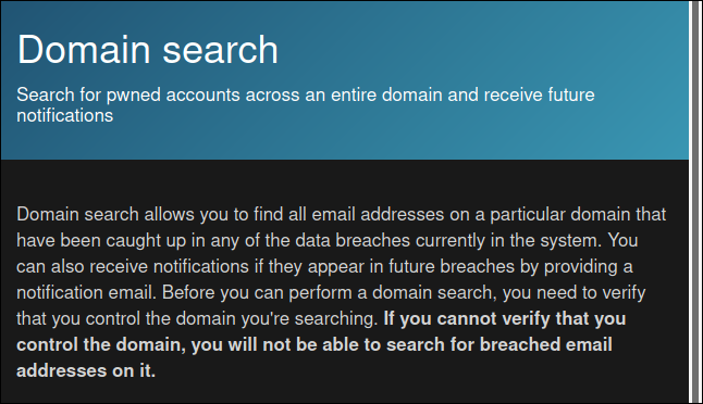 Doman search feature on the HIBP website