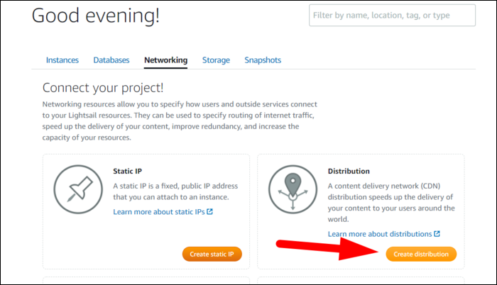 Networking tab > Create Distribution.
