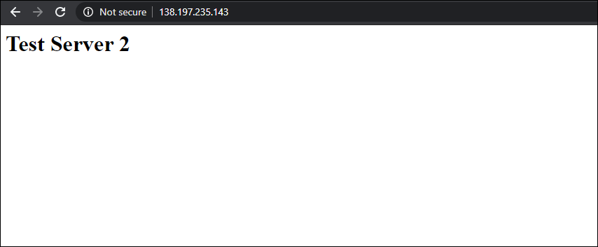 Go to IP address of the load balancer itself. After several reloads, both pages will come up on same IP address as connections are routed between associated Droplets.