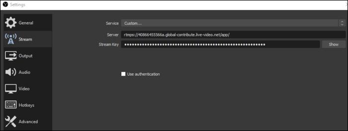 "Select ""Custom,"" enter both server URL and stream key."