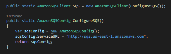 Create a new AmazonSQSClient by passing it the service URL.