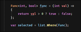 Define a Func<int, bool>, assign it a function as a value, and pass it to .Where().