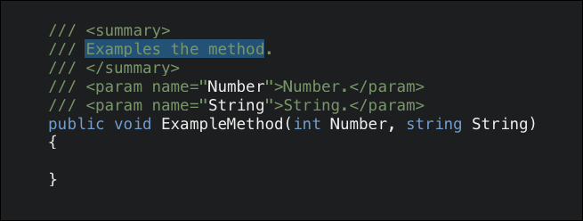 Hit slash key three times (///) above a method, class, or other type, and Visual Studio will insert a template to type in.