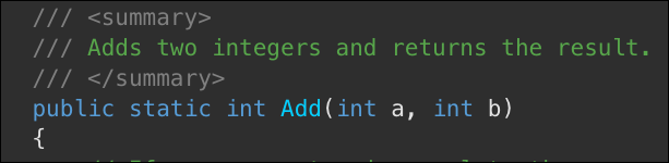 Simple summary comment in .NET code.