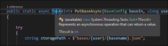 Tasks function like Promises and represent an async operation that returns something.