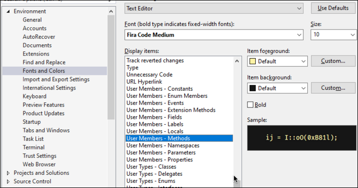 """Find colors for changing methods, fields, parameters, classes, enums, etc. under """"User Members"""""""