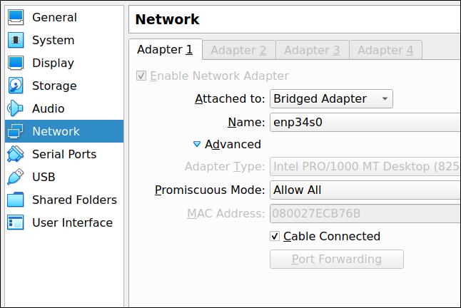 VirtualBox network adapter settings tab