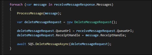 Send a DeleteMessageRequest to SQS to remove message from the queue.