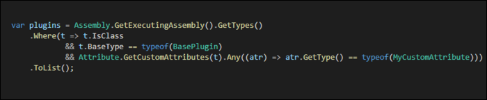 Use Assembly.GetExecutingAssembly().GetTypes()to fetch list of executing types, then check all custom attributes to see if it contains search parameter.