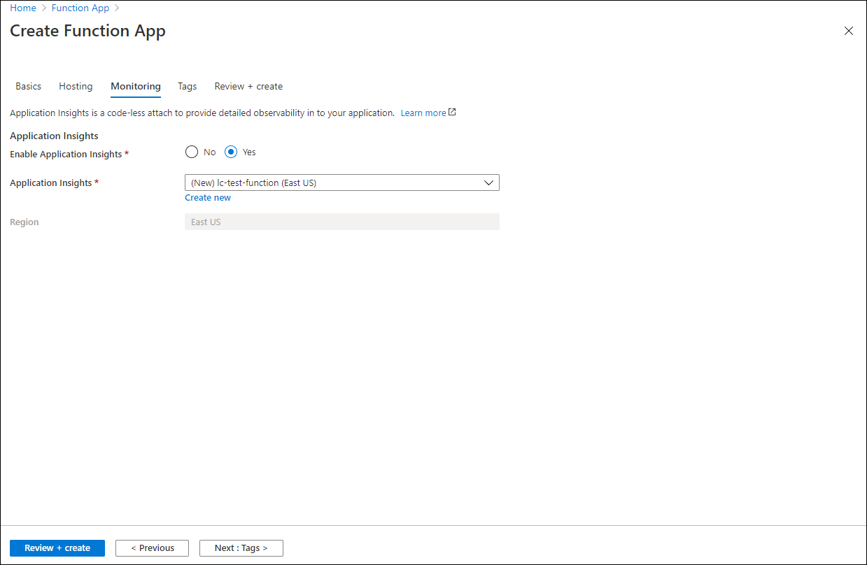 Create a new Application Insights configuration and enable the monitoring option