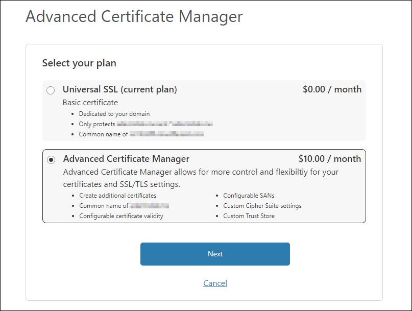 Order Advanced Certificate